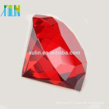 Grand 60mm Crystal Charm Rouge presse-papier en verre taillé grand bijoux de diamant géant