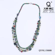 Regalos de día de madre de collar de perlas de cristal verde