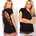 Nuevo estilo Casual Backless Angel Wings Tops camiseta de mujer (14206)