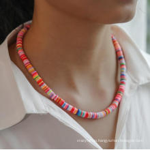 Colorful Bohemia Polymer Clay Wafer Choker Necklace Silver Summer Beach Soft Ceramic Circle Disc Necklace