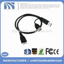 USB 3.0 A Stecker auf Micro USB 3.0 Y Kabel für mobile Festplatte Festplatte Schwarz