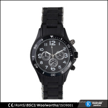 Los hombres de la venda del silicón del reloj de la aleación negra miran el movimiento de Japón