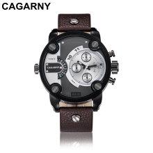 Cagarny Multifunktions-Armbanduhr für Männer Gold und Schwarz Farbgehäuse