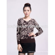 fashion printing V neck women's cashmere sweater