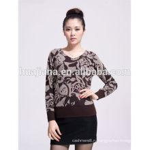 кашемировый свитер моды печати V шеи женщин