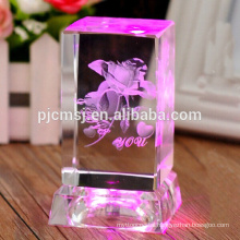 beautiful 3D laser crystal cube with LED light base for birthday gift and room decoration favors