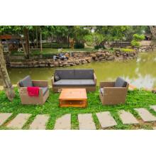 Einfache Design Poly Rattan Patio Garten Sofa Set Alle Wetter Wicker Möbel 001