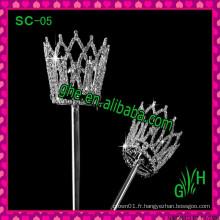 Vente en gros Concours design de beauté sceptre en strass pour fête