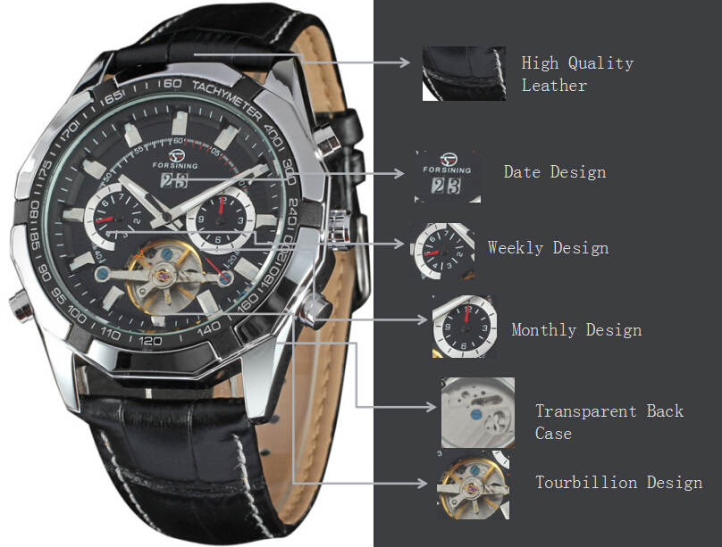 Genuine Leather Business Mens Watches Custom Brand