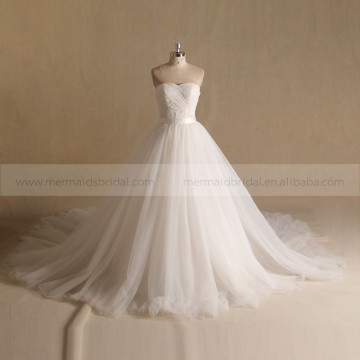 Dainty Sweetheart Pleated Crystal Wedding Gown Long Tail Two pieces