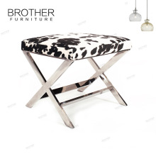 Home storage ottoman stool upholstery crushed velvet bench steel legs