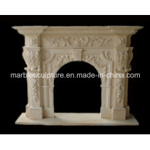 Beige Sculpture Marble Fireplace Surround Mantel (SY-MF037)