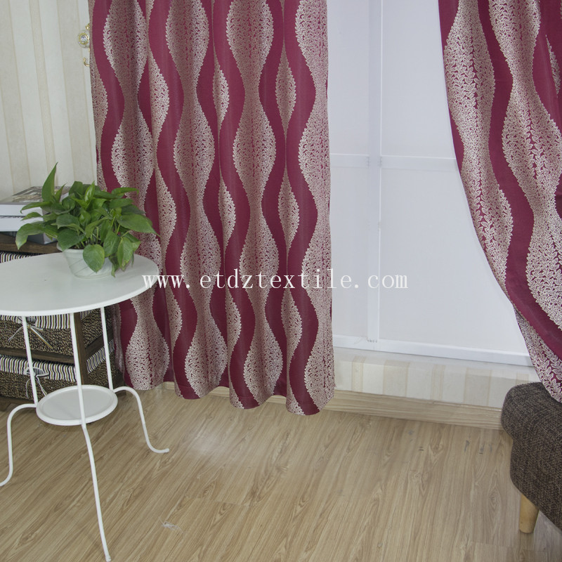 China Hot Jacquard Curtain Fabric GF028 Red