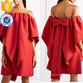 Loose Fit Off-The-Shoulder Short Sleeve Summer Mini Dress With Bow Manufacture Wholesale Fashion Women Apparel (TA0263D)
