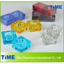Bougeoirs carrés en verre coloré de bougie chauffe-plats