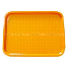 Plato de plástico naranja cuadrado con acabado antideslizante (TR002)