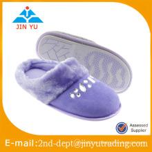 Zapato de ante nuevo diseño cerca dedo del pie con diamante para casa zapatilla