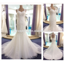 2016 vestidos de boda sin mangas del cordón del nuevo del V-Cuello de las llegadas huecos abren la sirena A195 de los vestidos de boda de los Sequines