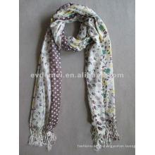 Écharpe tissée acrylique imprimée floral et pointillée
