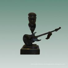 Bustos Estátua de Bronze Bass Player Decoração Escultura de Bronze Tpy-755