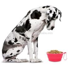 Großhandelsfabrik-Preis-wasserdichte Nahrungsmittelgrad-hitzebeständige Silikon-faltende Haustier-Schüssel / zusammenklappbare Haustier-Hundekatze-Schüssel