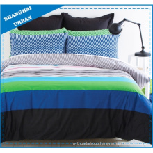 Blue Green Stripes Polycotton Printed Quilt Cover Set
