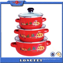 Custom Decal Red Color Best 3PCS Soup Pot