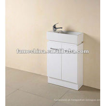 Pequeno tamanho branco alto banheiro brilhante vaidade / armário / mobiliário