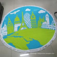 Custom printed Logo microfiber round beach towel chinese supplier