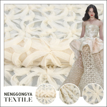 Hot selling different kinds of new white corded embroidery tulle fabrics pakistan