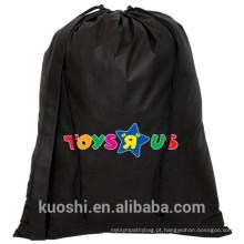 saco de cordão de algodão preto
