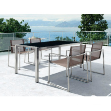 Patio Stainless Steel Outdoor Dining Table and Chair