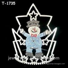 Coronas de desfile de Navidad de moda con muñeco de nieve de colores