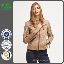 2016 Gute Preis Damen Mode PU Fleece Jacke
