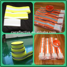 bande de bras élastique réfléchissante jaune fluorescent pour les sports