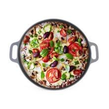 2016 Nueva pizza de hierro fundido del diseño pre-sazonado