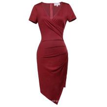Belle Poque Mulheres Short Sleeve V-Neck Asymmetrical Hips-Wrapped Wine Bodycon Pencil Dress BP000363-2