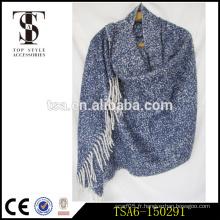 Blue acrylic loop en fils alpaca halloween poncho nordic southwestern foulards