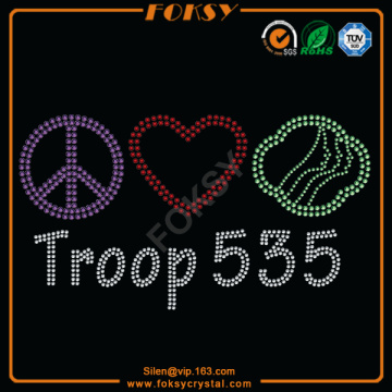 Good Quality for Peace Rhinestone Transfer Peace Love Troop 535 hotfix motif export to Tokelau Manufacturer