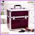 Purple cocodrilo Extra grande maquillaje Vanity casos con bandejas de plástico (SACMC055)