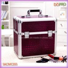 Purple Crocodile Extra Large Makeup Vanity Cases avec des plateaux en plastique (SACMC055)