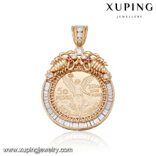 33072 High quality fashion Dubai gold plated round gold engrave pendant jewelry