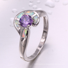 moda jóias 2018 atacado ródio banhado a zircão roxo e anel de opala