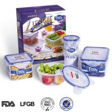 Conjunto de recipientes de armazenamento de alimentos de plástico