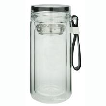 Botella de vidrio de doble pared con lazo