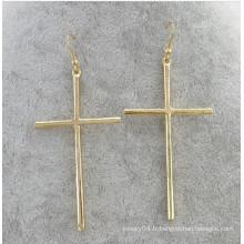 Fournisseur d'alibaba, boucle d'oreille plaqué or en argent 2014 avec croix pour femme