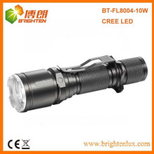 OEM Factory Super Bright Logo printed Best Aluminum 10w Cree led 3.7v rechargeable led flashlight