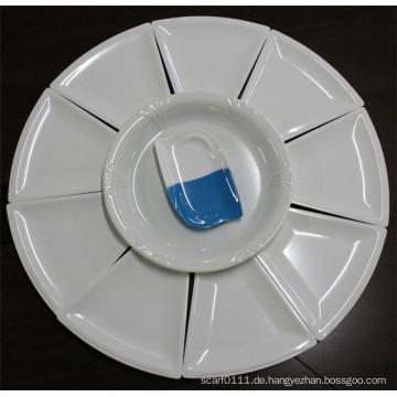 Weiß Nachahmung Keramik Melamin Geschirr Set (CP-048)