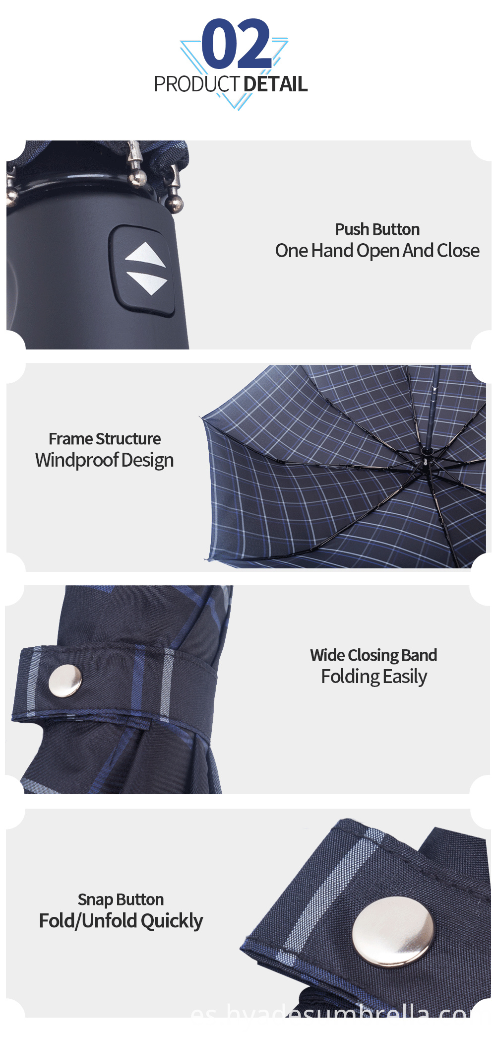 Mens Folding Umbrella Classic Check Design