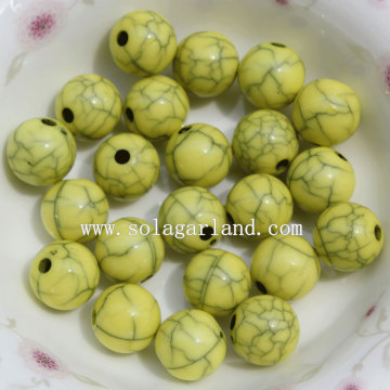 The Fashion Opaque Acrylic Crackle Round Jewelry Beads